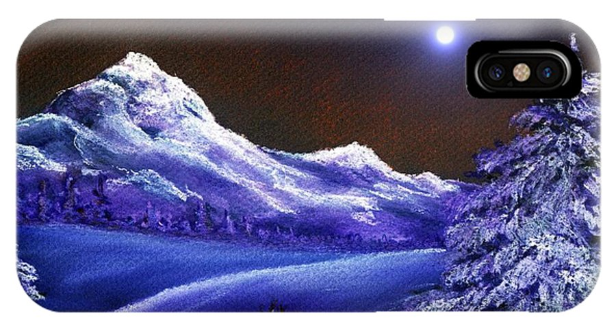 Moon IPhone X / XS Case featuring the painting Cold Night by Anastasiya Malakhova