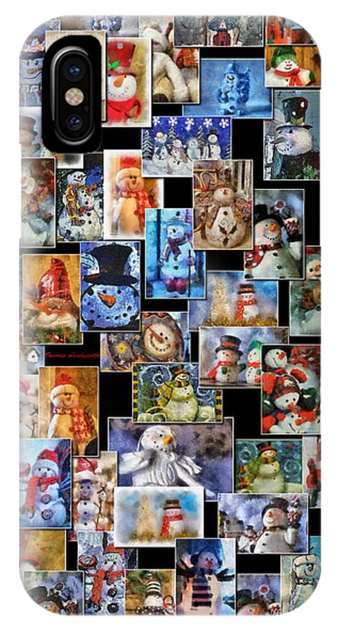 Winter IPhone X Case featuring the photograph Collage Snowman Vertical Photo Art by Thomas Woolworth