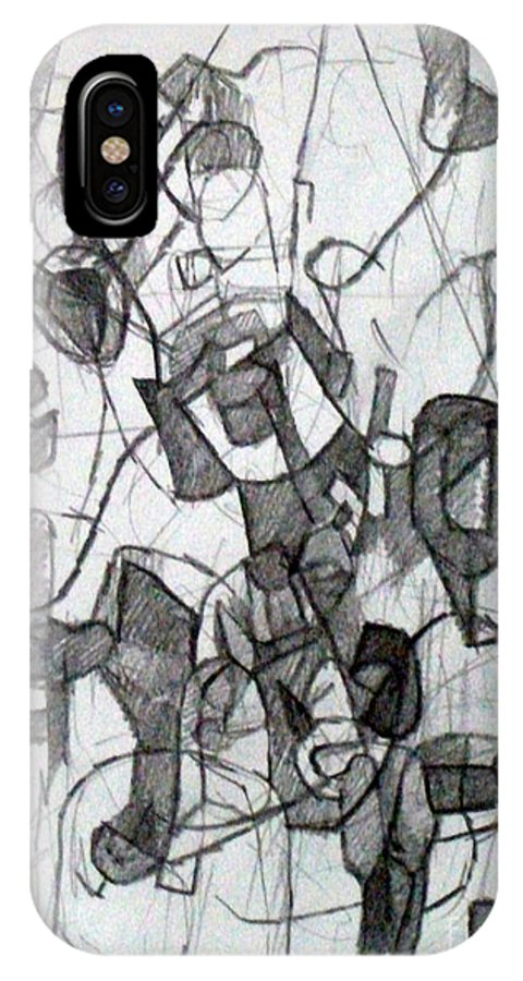 Torah IPhone X / XS Case featuring the drawing Collecting Thought 6 by David Baruch Wolk