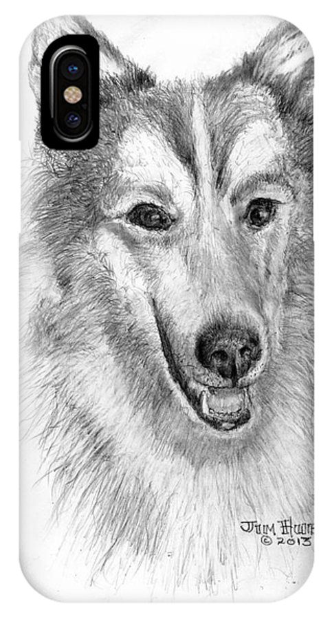 Collie IPhone X Case featuring the drawing Collie - Enhanced by Jim Hubbard