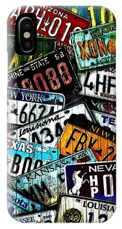 License Plates IPhone X / XS Case featuring the mixed media Collision Of States by Ginger Guillot