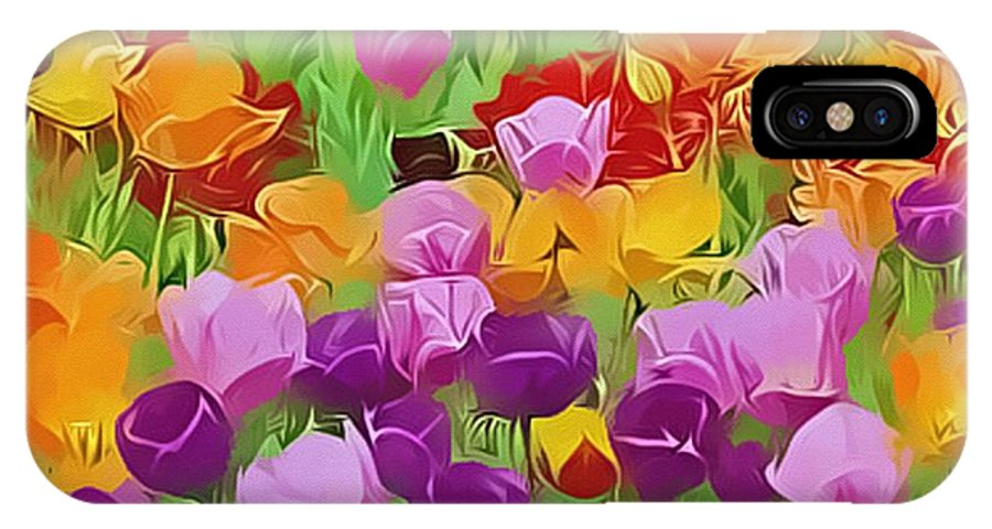Flowers IPhone X Case featuring the digital art Color Field by Peggy Gabrielson