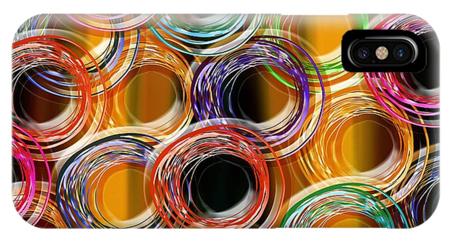 Abstract IPhone X Case featuring the mixed media Color Frenzy 6 by Andee Design
