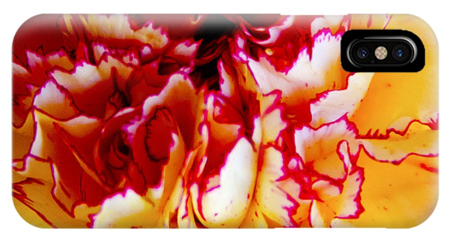 Carnation IPhone X Case featuring the digital art Color In A Carnation by Pravine Chester