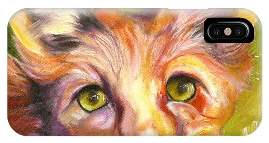 Oil Painting IPhone X Case featuring the painting Colorado Fox by Susan A Becker