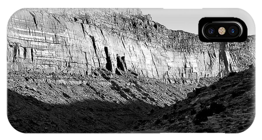 Digital Black And White Photo IPhone X Case featuring the digital art Colorado River Cliff Bw by Tim Richards