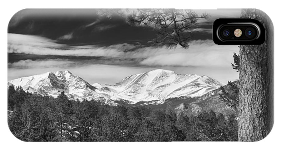 Rockies IPhone X / XS Case featuring the photograph Colorado Rocky Mountain View Black And White by James BO Insogna
