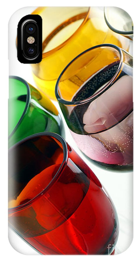 Color IPhone X Case featuring the photograph Colored Glasses At An Angle by Sylvie Bouchard
