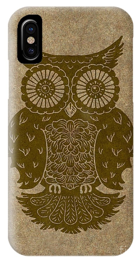 Owl IPhone X Case featuring the painting Colored Owl 3 Of 4 by Kyle Wood