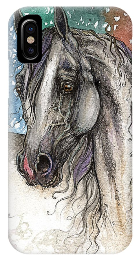 IPhone X Case featuring the painting Colorful Arabian Horse by Angel Ciesniarska