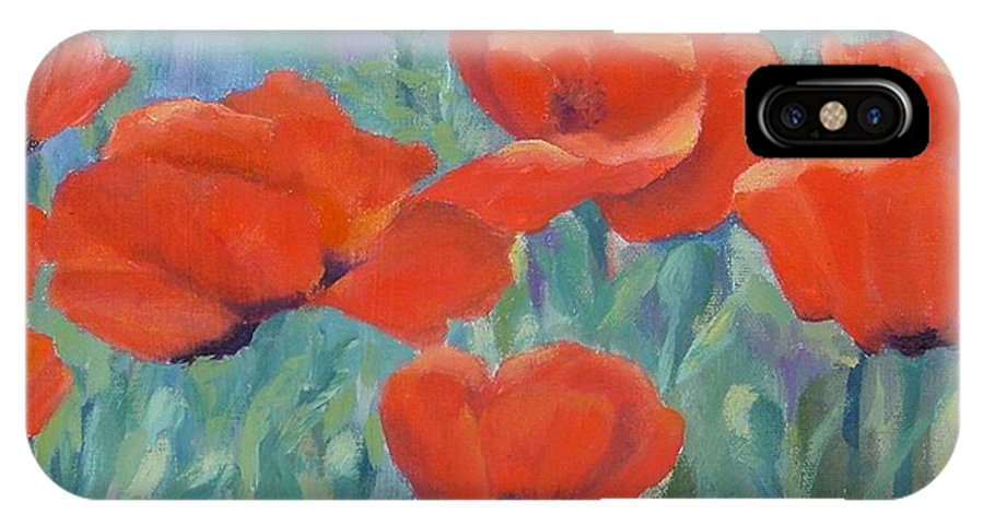 Red Poppies IPhone X Case featuring the painting Colorful Flowers Red Poppies Beautiful Floral Art by K Joann Russell