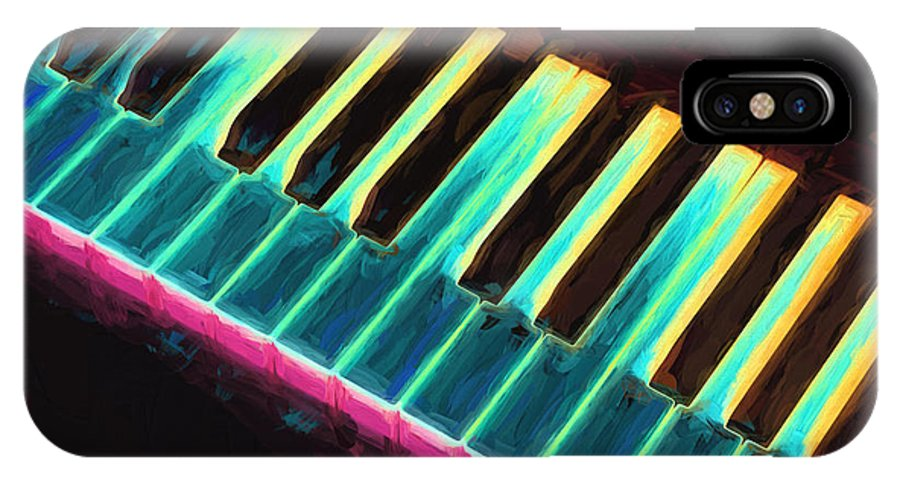 Piano IPhone X Case featuring the painting Colorful Keys by Bob Orsillo