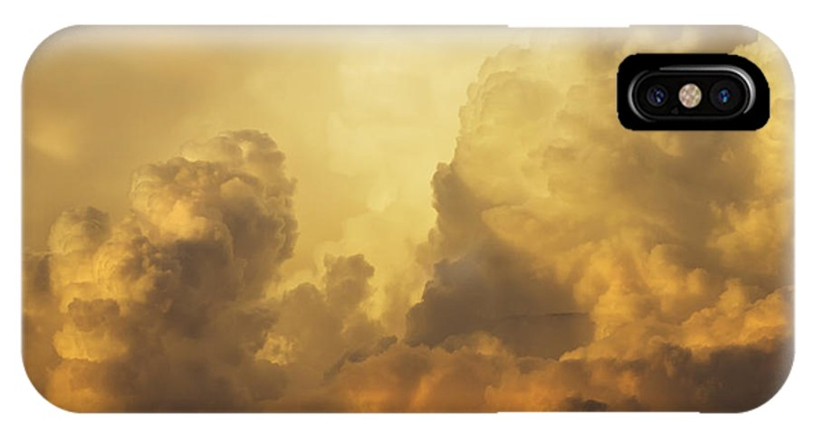 Sunset IPhone X Case featuring the photograph Colorful Orange Yellow Storm Clouds At Sunset by Keith Webber Jr