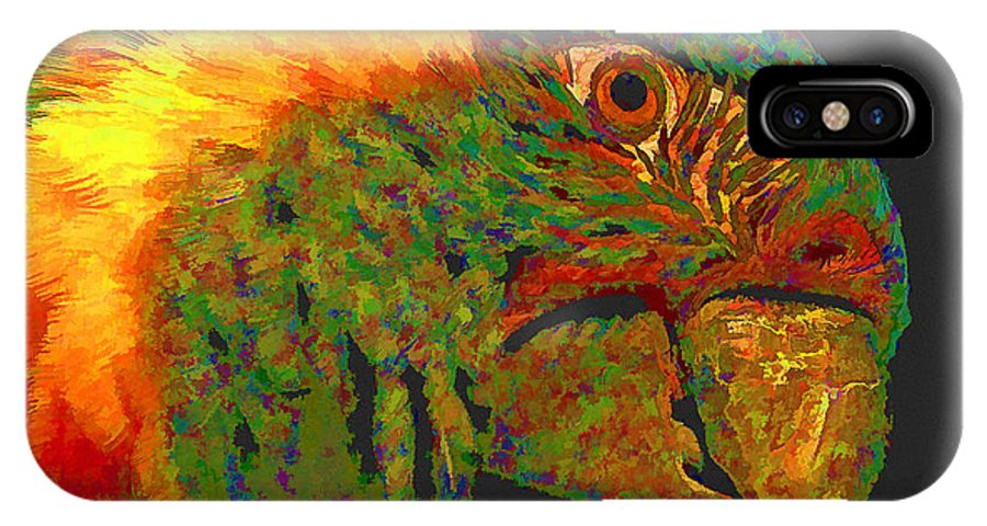 Parrot IPhone X Case featuring the digital art Colorful Parrot by Ingrid Smith-Johnsen