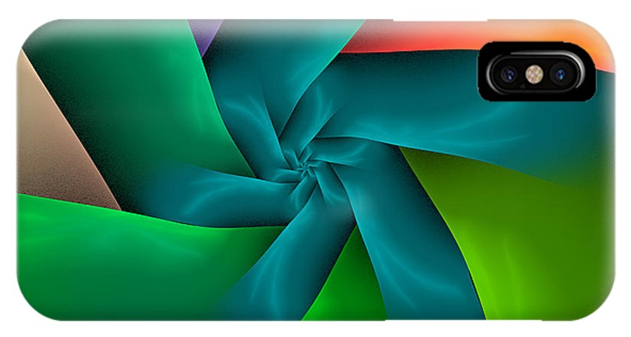 Abstract Fractal IPhone X Case featuring the digital art Colorful Ribbons by Sandy Keeton