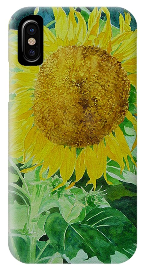 Paintings Of Sunflowers IPhone X Case featuring the painting Colorful Sunflowers Watercolor Original Sunflower Art by K Joann Russell