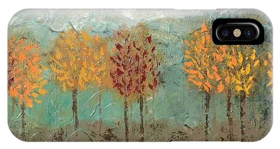 Fall Trees IPhone X Case featuring the painting Colorful Trees by Linda Bailey
