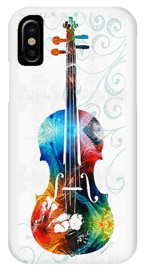 Violin IPhone X Case featuring the painting Colorful Violin Art By Sharon Cummings by Sharon Cummings