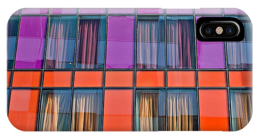 Modern IPhone X Case featuring the photograph Colorful Windows On Modern Apartment Block by Ken Biggs