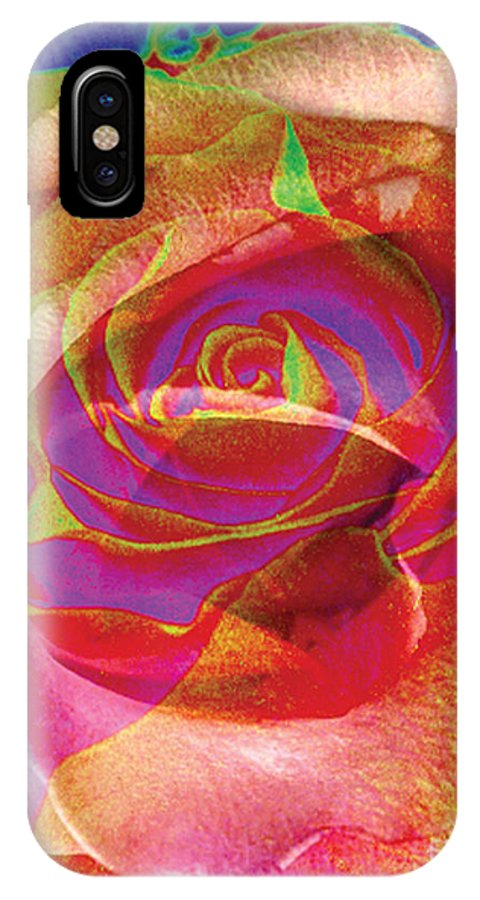 Rose Flower IPhone X Case featuring the digital art Colorfull Rose by Yael VanGruber