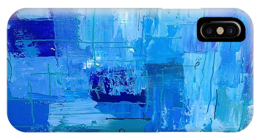 Abstract IPhone X Case featuring the painting Colour Blue 2 by Judi Goodwin