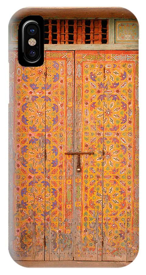Door IPhone X Case featuring the photograph Colourful Entrance Door Sale Rabat Morocco by Ralph A Ledergerber-Photography