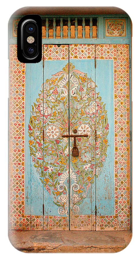 Door IPhone Case featuring the photograph Colourful Moroccan Entrance Door Sale Rabat Morocco by Ralph A Ledergerber-Photography