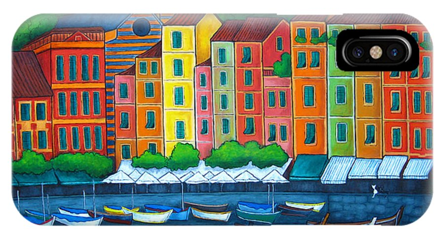 Portofino IPhone X Case featuring the painting Colours of Portofino by Lisa Lorenz