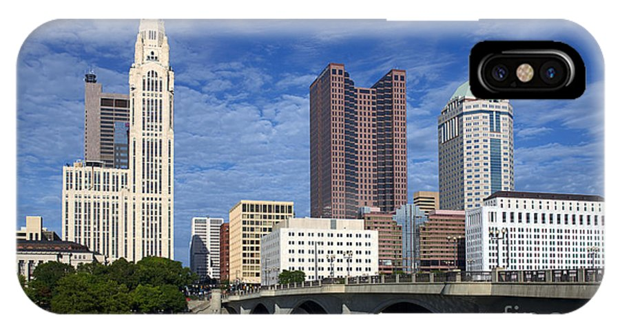 Columbus IPhone X Case featuring the photograph Columbus Ohio Skyline From Scioto River by Historic Vantage