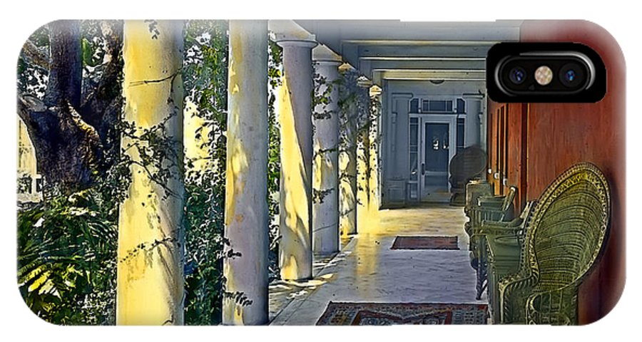 Tranquil IPhone X Case featuring the painting Columns And Chairs by Terry Reynoldson