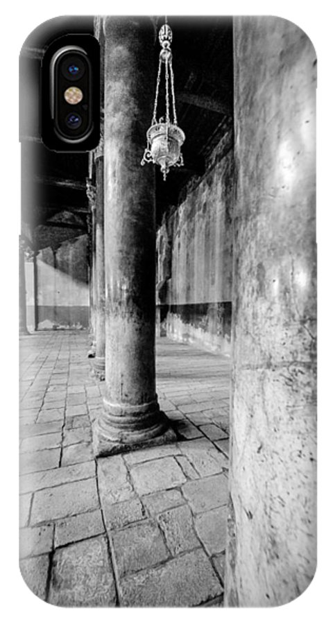 Bethlehem IPhone X Case featuring the photograph Columns At The Church Of Nativity Black And White Vertical by David Morefield