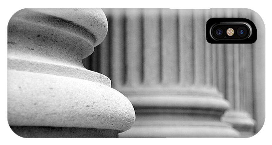 Black & White IPhone X Case featuring the photograph Columns by Tony Cordoza