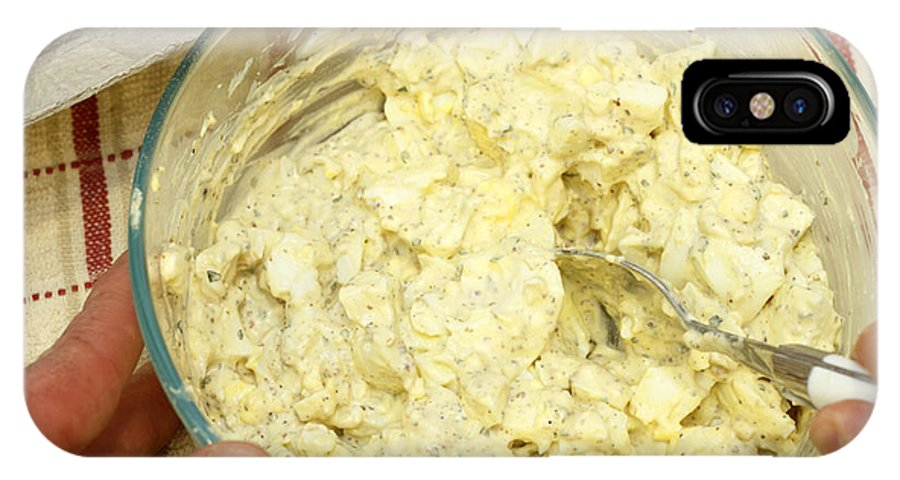 Egg Salad IPhone X Case featuring the photograph Combining Egg Salad Ingredients by Lee Serenethos