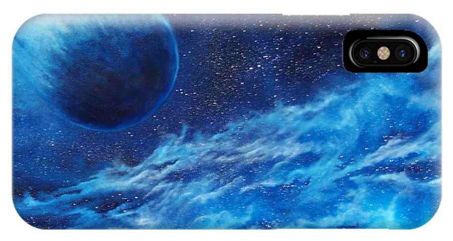 Astro IPhone X Case featuring the painting Comet Experience by Murphy Elliott