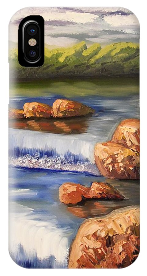 Waterfall IPhone X Case featuring the painting Comfort Waterfall by Christine McNulty