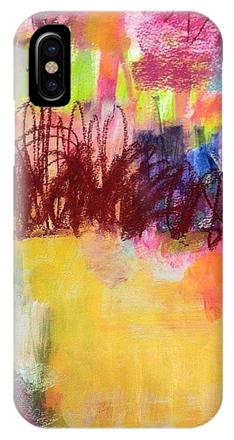 Abstract IPhone X / XS Case featuring the painting Coming Soon by Kikuko Sakota