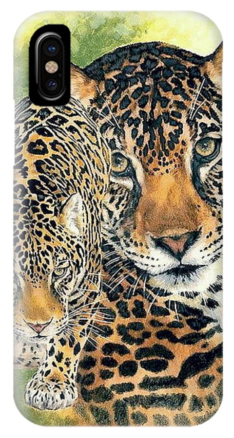 Jaguar IPhone X Case featuring the mixed media Compelling by Barbara Keith