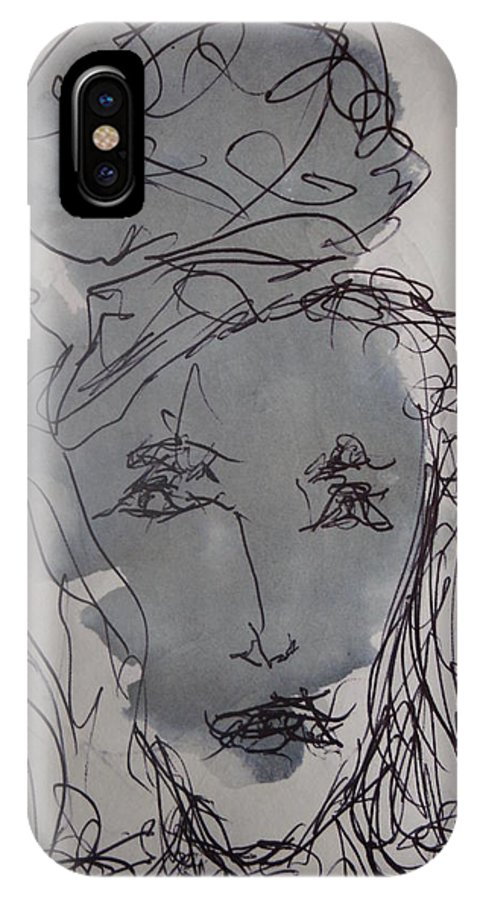 Doodle IPhone X Case featuring the drawing Composition 65 by Edward Wolverton