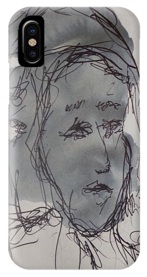 Doodle IPhone X Case featuring the drawing Composition 67 by Edward Wolverton