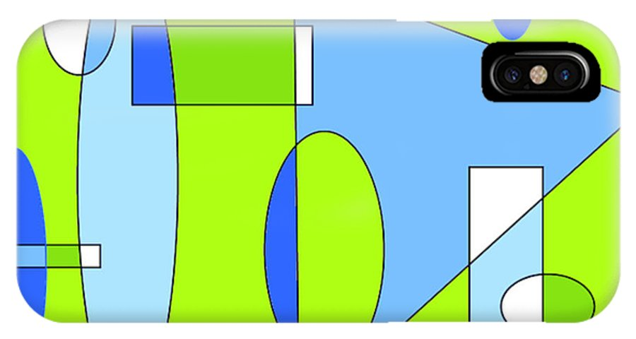 Abstract IPhone X Case featuring the digital art Composition In Chartreuse And Blue by Ainsley McNeely