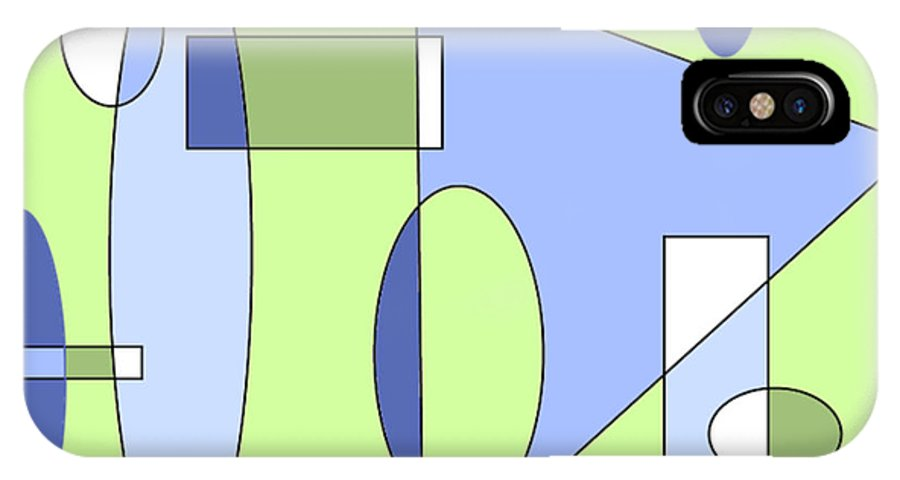 Abstract IPhone X Case featuring the digital art Composition With Muted Greens by Ainsley McNeely