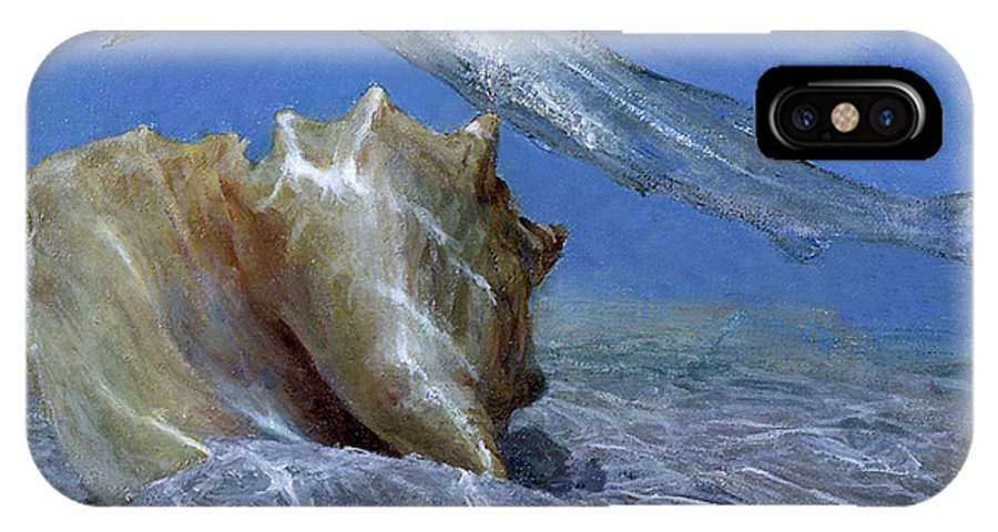 Color Image IPhone X Case featuring the photograph Conch And Ladyfish, 2001 Pair by Stanley Meltzoff / Silverfish Press