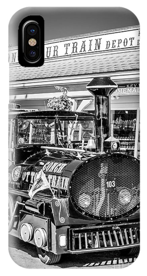 America IPhone X Case featuring the photograph Conch Tour Train 1 Key West - Black And White by Ian Monk
