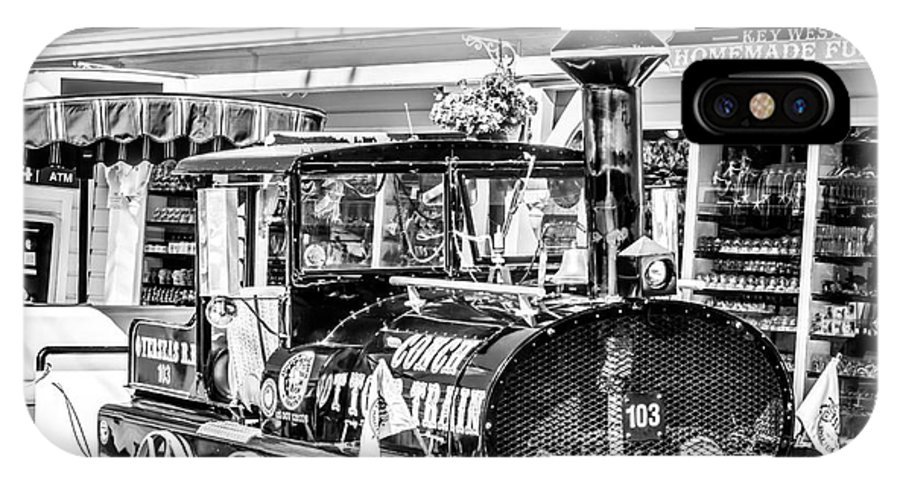America IPhone X Case featuring the photograph Conch Tour Train 2 Key West - Square - Black And White by Ian Monk