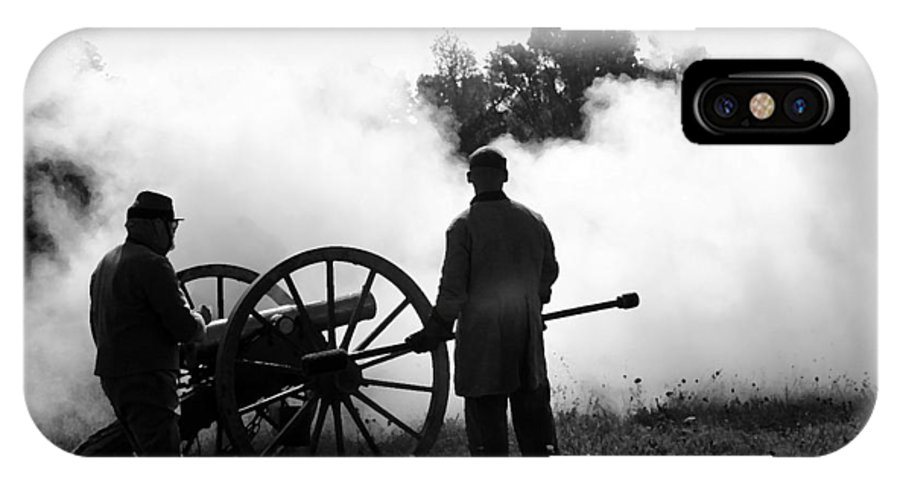 American IPhone X Case featuring the digital art Confederate Twelve Pounder Fired - Perryville Ky by Thia Stover