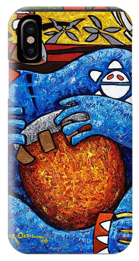 Puerto Rico IPhone Case featuring the painting Conga On Fire by Oscar Ortiz
