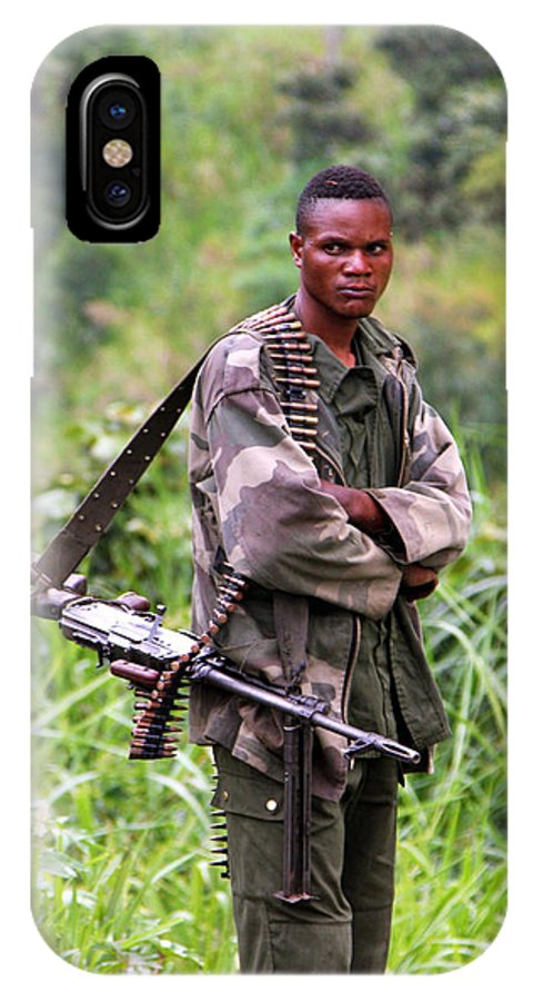 Drc IPhone X Case featuring the photograph Congolese Soldier Standing Guard by Bob Parr
