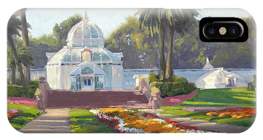 Conservatory Of Flowers IPhone X Case featuring the painting Conservatory Of Flowers - Golden Gate Park by Armand Cabrera