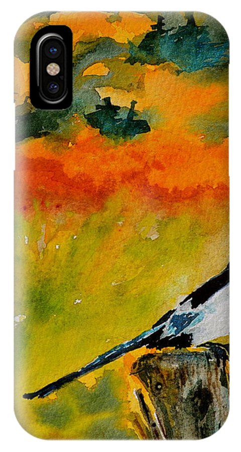 Magpie IPhone X / XS Case featuring the painting Consider by Beverley Harper Tinsley