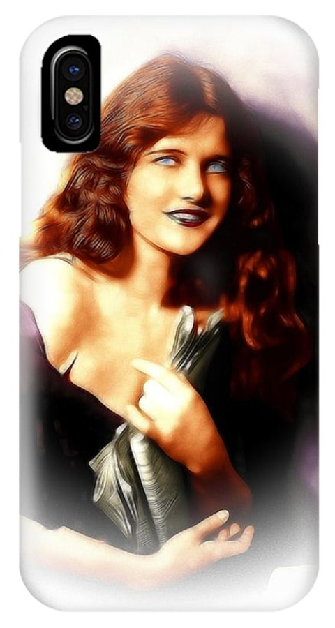 Constance Binney American Actress Dancer Female Girl Woman Sexy Beauty Face Portrait Erotic Movie Silent Painting Vintage IPhone X Case featuring the painting Constance Binney by Steve K